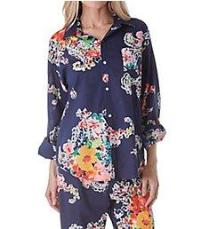 Lauren Ralph Lauren Sleepwear Classic Wovens Long Sleeve Roll Tab Capri PJ Set LN91573
