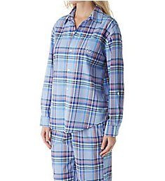 Lauren Ralph Lauren Sleepwear Classic Woven Long Sleeve with Roll Tab PJ Set LN91603