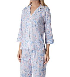 Lauren Ralph Lauren Sleepwear Classic Woven 3/4 Sleeve Notch Collar Pant PJ Set LN91605