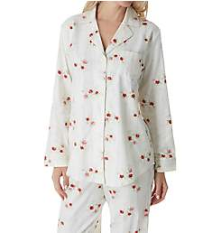 Lauren Ralph Lauren Sleepwear Brushed Twill Long Sleeve Notch Collar PJ Set LN91640