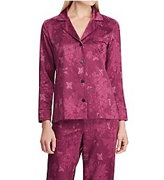 Lauren Ralph Lauren Sleepwear Satin Long Sleeve Notch Collar Long Pant PJ Set LN91644