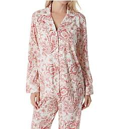 Lauren Ralph Lauren Sleepwear Classic Knit Long Sleeve Notch Collar PJ Set LN91650