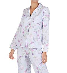 Lauren Ralph Lauren Sleepwear Brushed Twill Long Sleeve Notched Collar PJ Set LN91652
