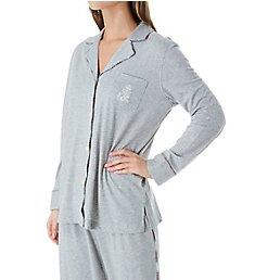 Lauren Ralph Lauren Sleepwear Plaid Trimmed Knit Long Sleeve Notch Collar PJ Set LN91752