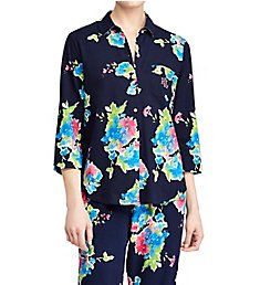 Lauren Ralph Lauren Sleepwear Classic Woven 3/4 Sleeve Capri Pant PJ Set N91531B