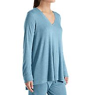 N by Natori Speckled Interlock V-Neck Long Sleeve Top BC5118