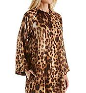 Natori Leopard Printed Silky Charmeuse Zip Caftan B70143