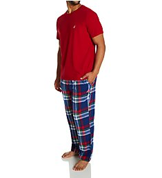 Nautica Knit Top With Flannel Pajama Pant Set PJ04F0