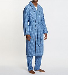 Nautica Anchor 100% Cotton Plaid Robe WR43S5
