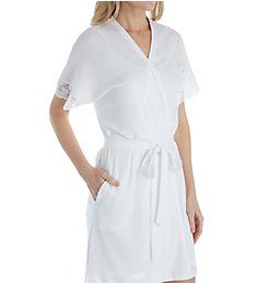 P-Jamas Silky Ribs Short Wrap Robe with Lace 347709