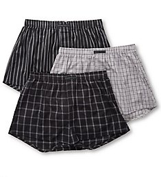 Perry Ellis 100% Cotton Woven Boxers - 3 Pack 879779