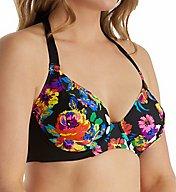 Pour Moi Black Dahlia Underwire Halter Bikini Swim Top 63002