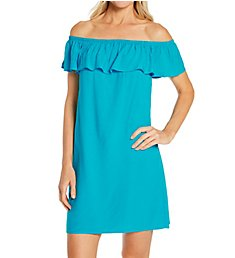 Pour Moi Textured Woven Bardot Beach Dress Cover Up 91023