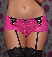 Seven 'til Midnight Lace Open Crotch Boyshort With Removable Garters 9769