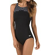 Speedo Endurance+ Stripe High Neck One Piece Swimsuit 7723085