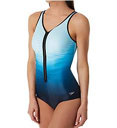 Speedo Plunge Zip Front Ombre One Piece Swimsuit 7723176