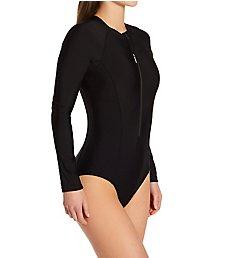 Speedo Active Zip Front Long Sleeve One Piece Swimsuit 7734246