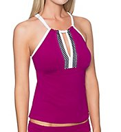 Sunsets Foxglove Mia High Neck Tankini Swim Top 87tFOX