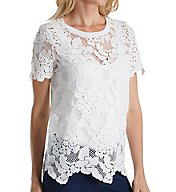Three Dots Floral Lace Short Sleeve Crew Neck Top TK4220